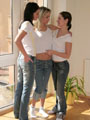Britney Lightspeed looking hot with 2 of her sexy teen girlfriends%uFFFDpeeling of their skin tight jeans from Britney Lightspeed